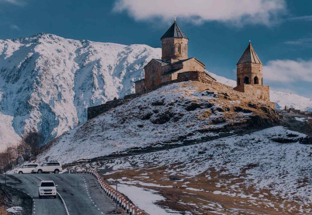 The region of Kakheti, in Georgia, surrounded by scenic snow-dusted mountains.