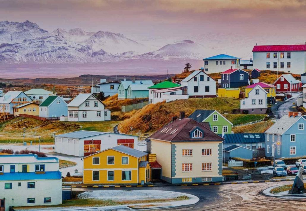 The colorful houses surrounded by a mountain in Reykjavik, Iceland.