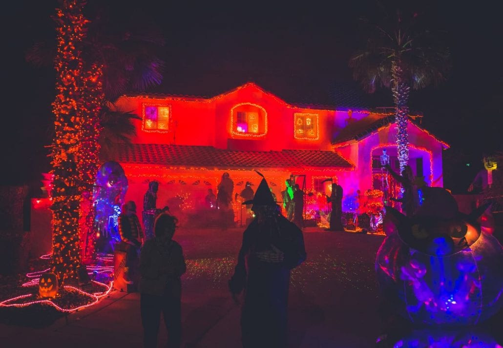 Halloween party at night.