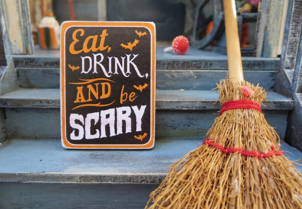Halloween decoration with witch broom.
