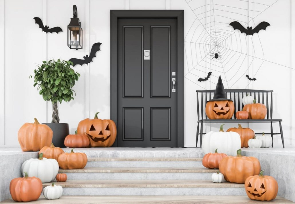 Carved pumpkins, bats and spiders on stairs and bench near modern house with black front door, tree in pot and white walls. Concept of halloween.
