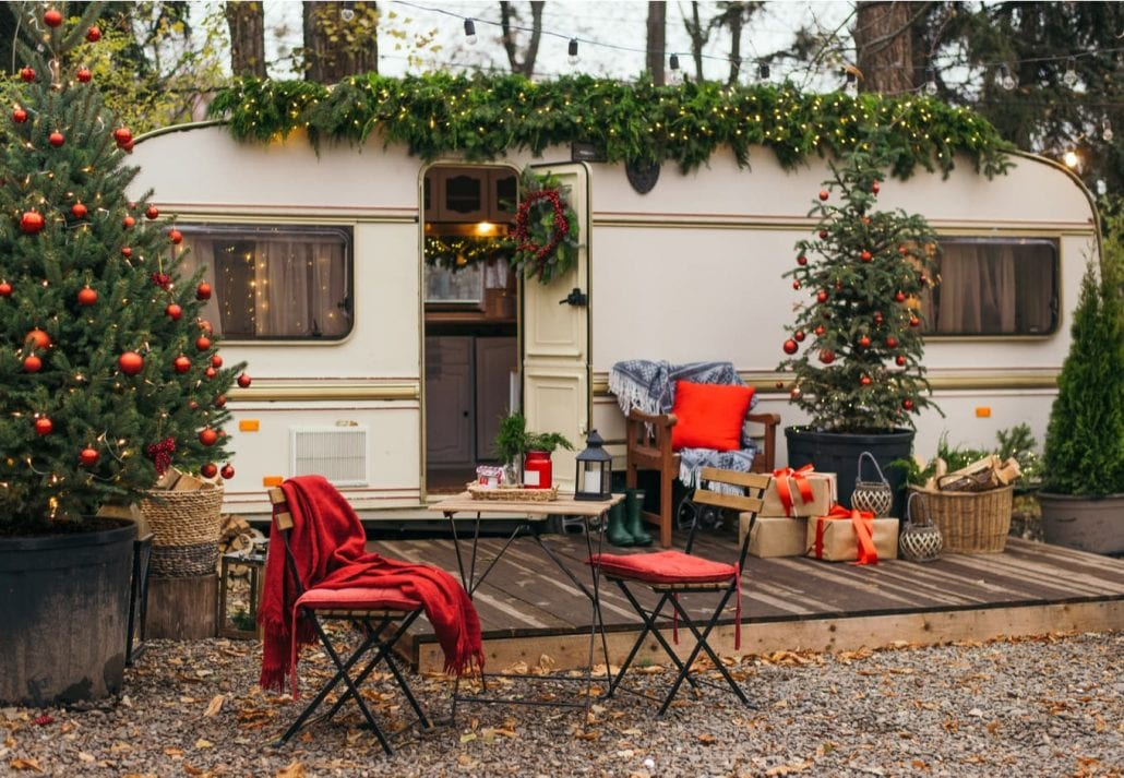 Caravan mobile home with terrace, Mobile home decorated with Christmas decor