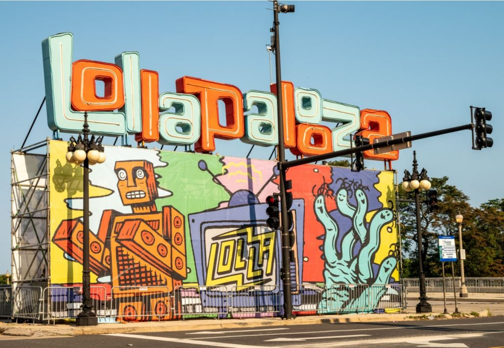 The temporary Lollapalooza sign downtown Chicago, at the entrance to Grant Park.