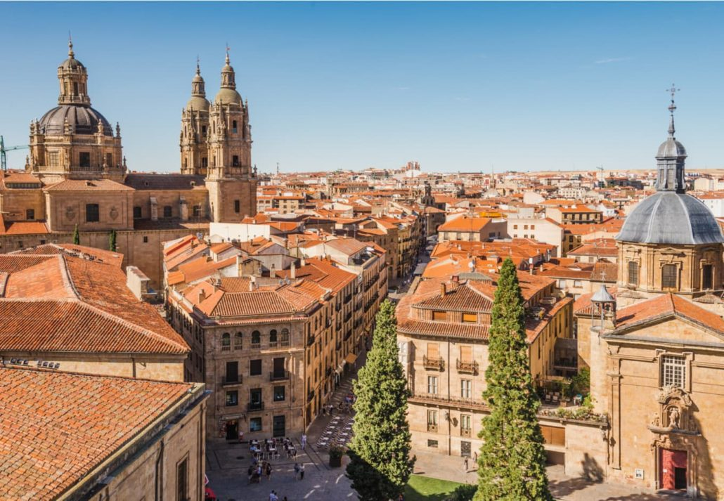 Panoramic view of Salamanca city from the rooftop of Salamanca Cathedral, Castile and Leon, Spain.