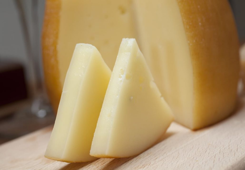 Pieces of Idiazabal cheese.