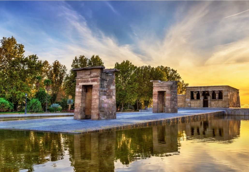 Sunset at the Debod Temple, Madrid.