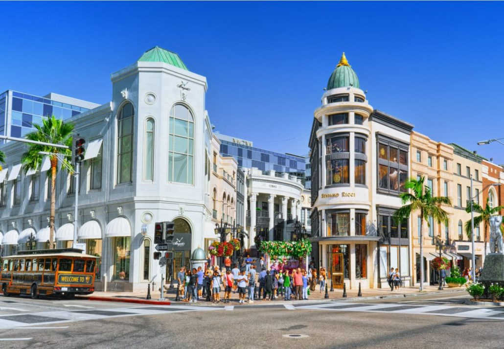 View of the fashionable street Rodeo Drive in Hollywood, LA.
