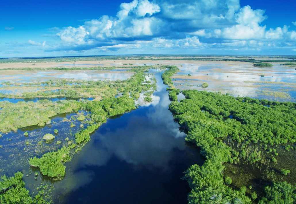 : Aerial view of the Ten Thousand Islands in Everglades National Park, Florida