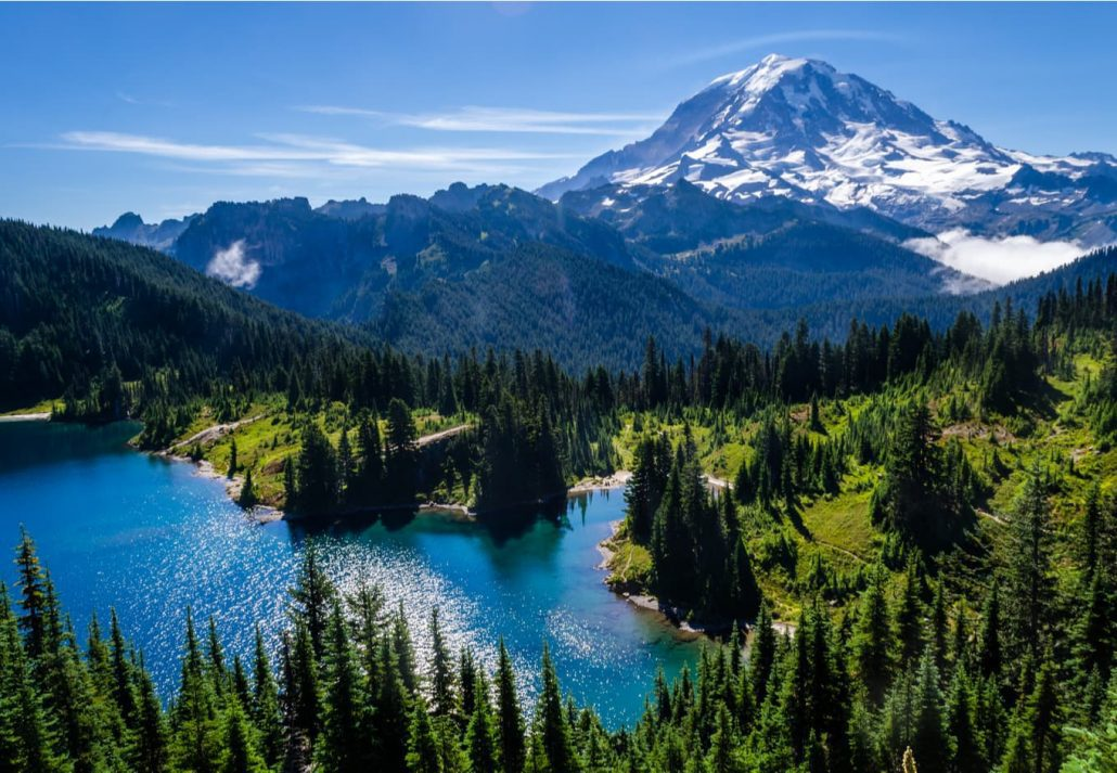 Mount Rainier and Eunice Lake as seen from Tolmie Peak