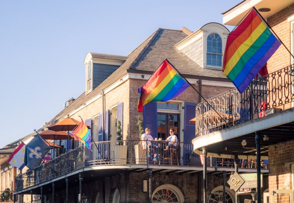 Colorful rainbow flags in the French Quarter