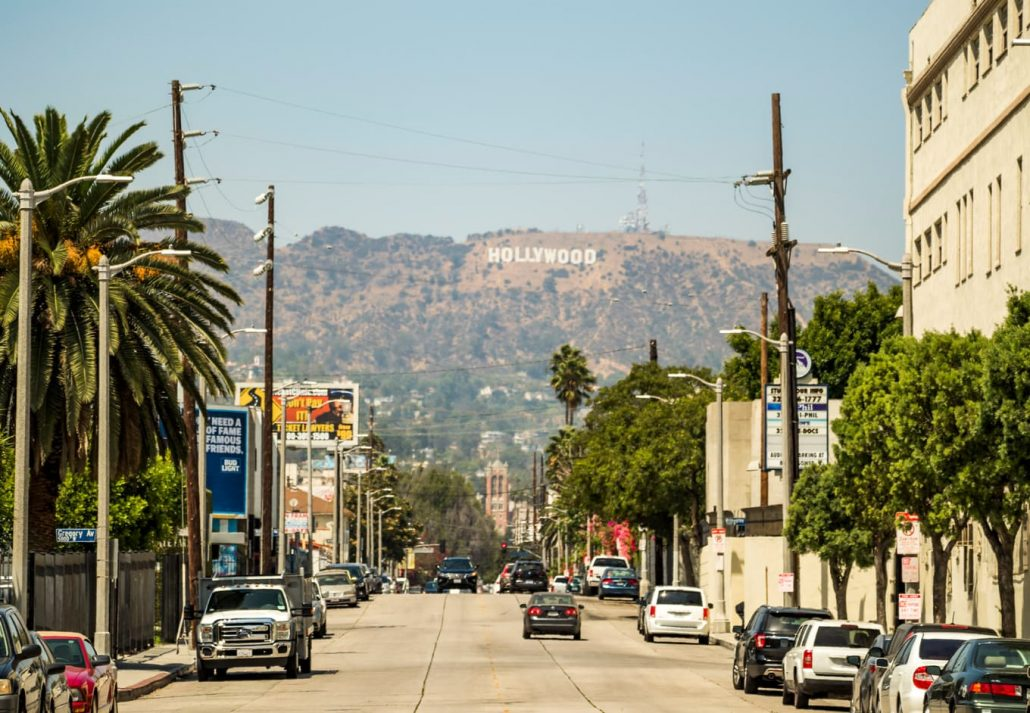 Hollywood Sign view from Gower Street , Los Angeles, California.